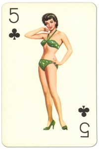 5 of clubs Van Genechten Glamour Girls pinup cards