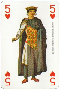 #PlayingCardsTop1000 – 5 of hearts Modiano deck Middle Ages