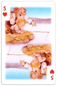 5 of hearts Trolls cartoons playing cards by Rolf Lidberg
