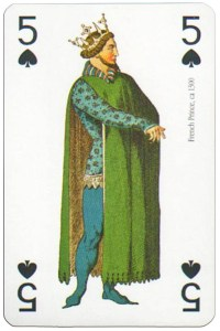 #PlayingCardsTop1000 – 5 of spades Modiano deck Middle Ages