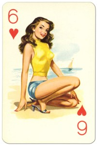 #PlayingCardsTop1000 – 6 of hearts Van Genechten Glamour Girls pinup cards