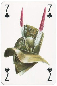 #PlayingCardsTop1000 – 7 of clubs from Gladiators deck designed by Severino Baraldi