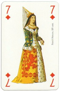 7 of diamonds Renaissance clothes card