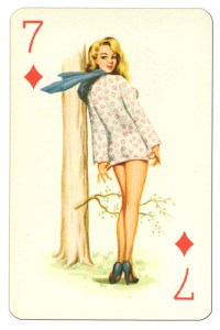 7 of diamonds Van Genechten Glamour Girls pinup cards