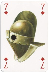 #PlayingCardsTop1000 – 7 of diamonds from Gladiators deck designed by Severino Baraldi