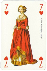 #PlayingCardsTop1000 – 7 of hearts Renaissance clothes card