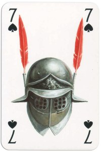 7 of spades from Gladiators deck designed by Severino Baraldi