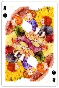 #PlayingCardsTop1000 – 8 of spades Trolls cartoons playing cards by Rolf Lidberg