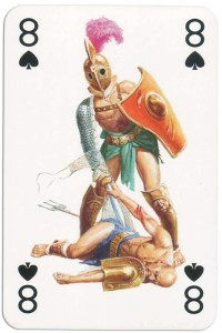 #PlayingCardsTop1000 – 8 of spades from Gladiators deck designed by Severino Baraldi