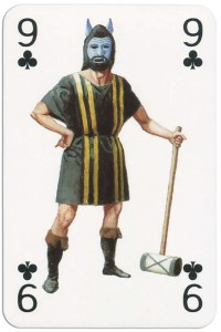 9 of clubs from Gladiators deck designed by Severino Baraldi