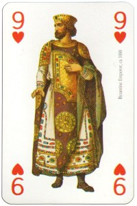 #PlayingCardsTop1000 – 9 of hearts Modiano deck Middle Ages