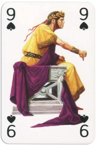 #PlayingCardsTop1000 – 9 of spades from Gladiators deck designed by Severino Baraldi