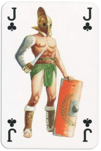 Jack of clubs from Gladiators deck designed by Severino Baraldi