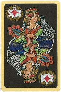 Queen of diamonds Chernyi Paleh Russian style black cards
