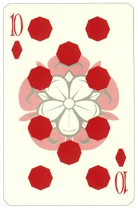 Wars of roses playing card 10 of diamonds