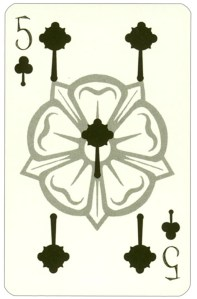 Wars of roses playing card 5 of clubs