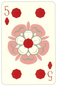 Wars of roses playing card 5 of diamonds