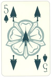 Wars of roses playing card 5 of spades