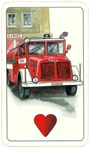 Hasičské Fire fighters cards from Czechia Ace of hearts 08