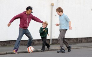 Playing football with dad