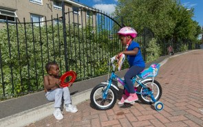 Two children having a chat