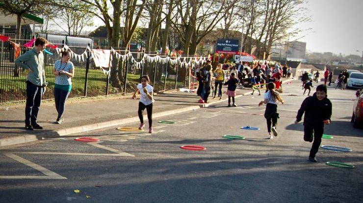 Children running in school street