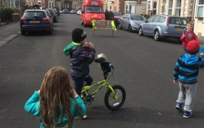 Children standing on a play street