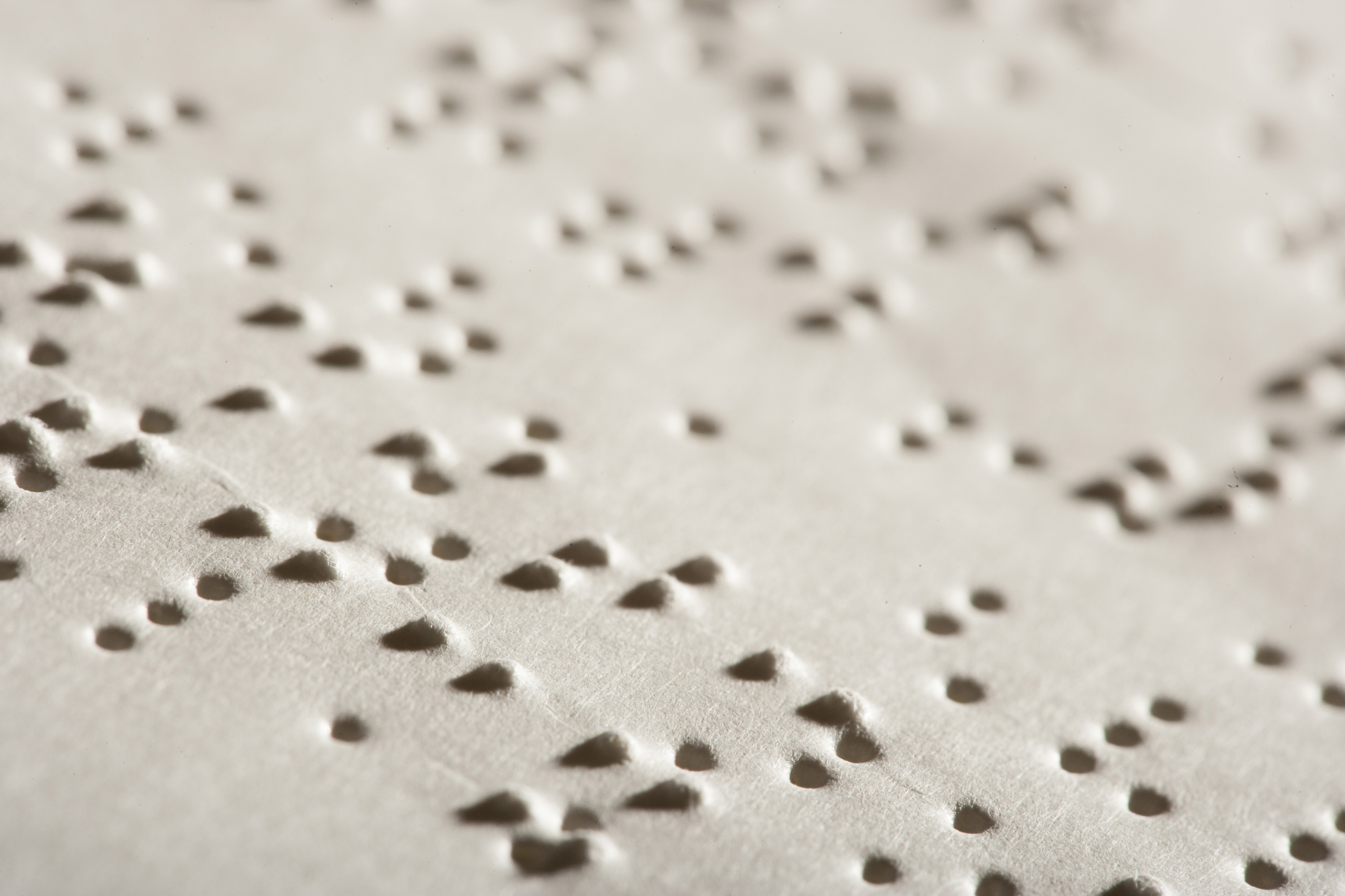 Braille page side view.