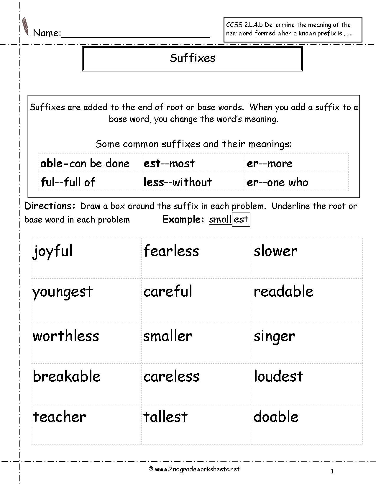 Prefix Suffix Worksheet 3rd Grade