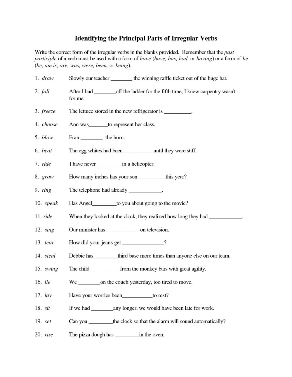 medium resolution of Writing Irregular Verbs Worksheet   Printable Worksheets and Activities for  Teachers