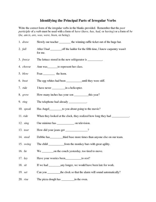small resolution of Writing Irregular Verbs Worksheet   Printable Worksheets and Activities for  Teachers