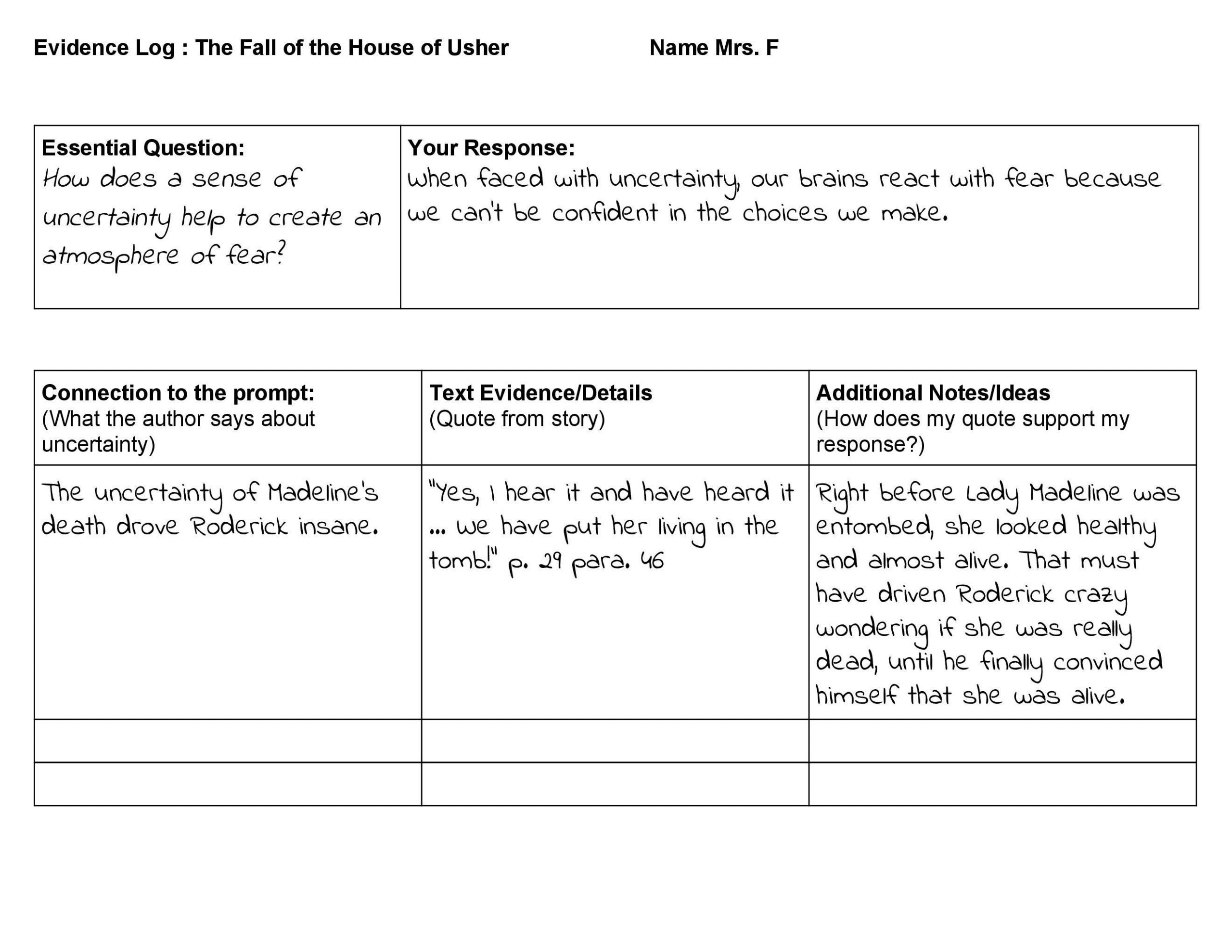 Annotation Worksheet Middle School 5 Reading Response