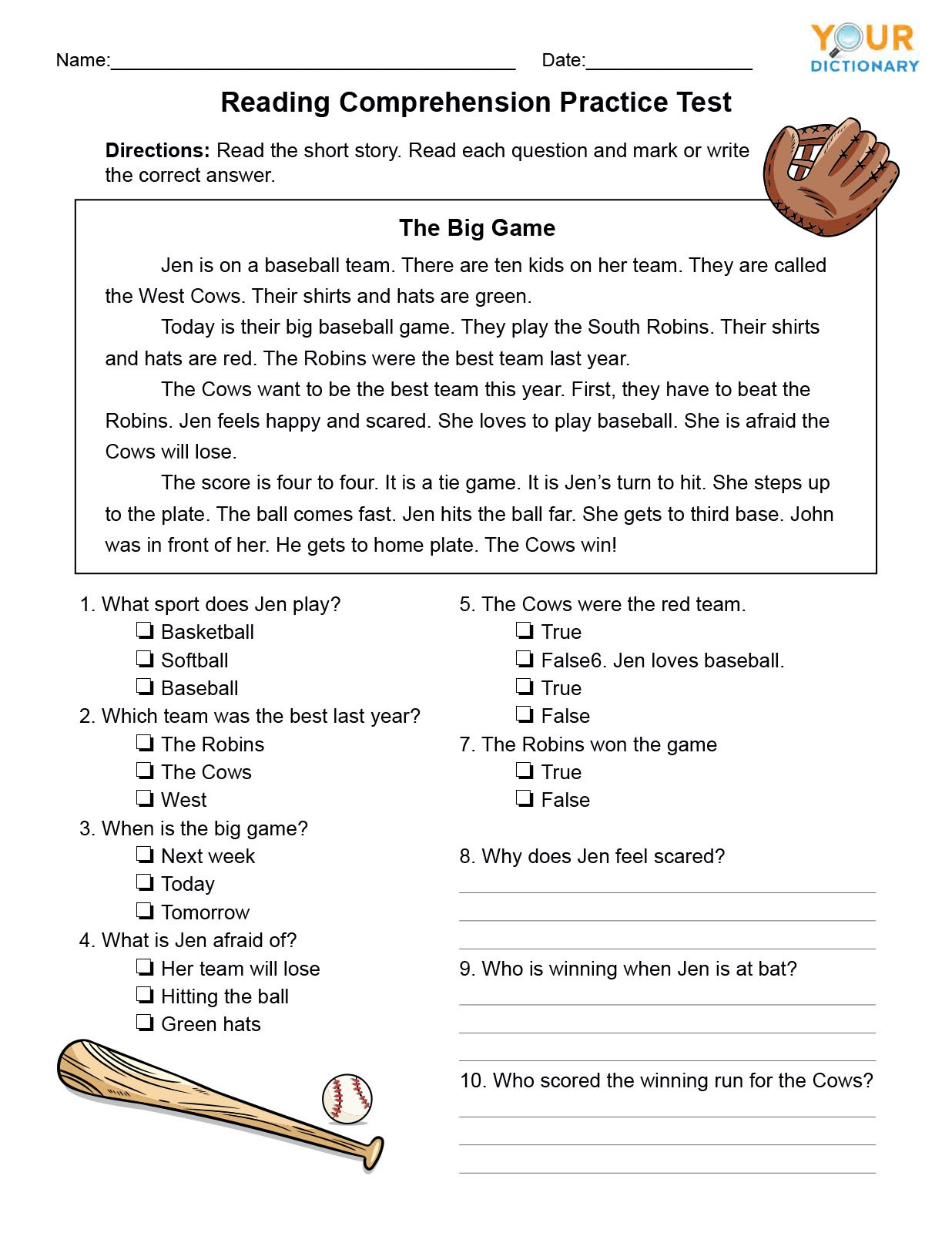 The Farmer In The Hat Comprehension Test