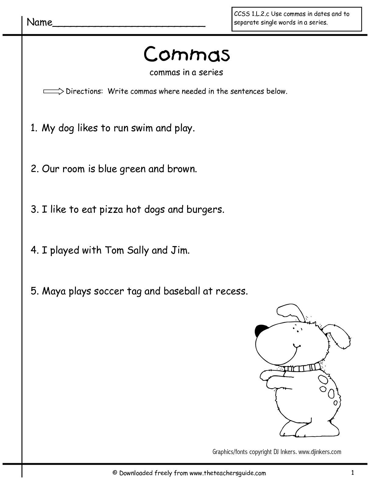 Sentence Correction Worksheets 2nd Grade