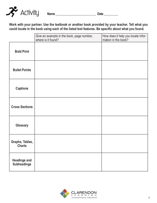 small resolution of Text And Graphic Features Worksheets   Printable Worksheets and Activities  for Teachers