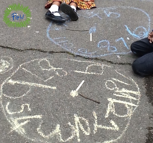 Learning how to Read a Clock. chalk clock with children.