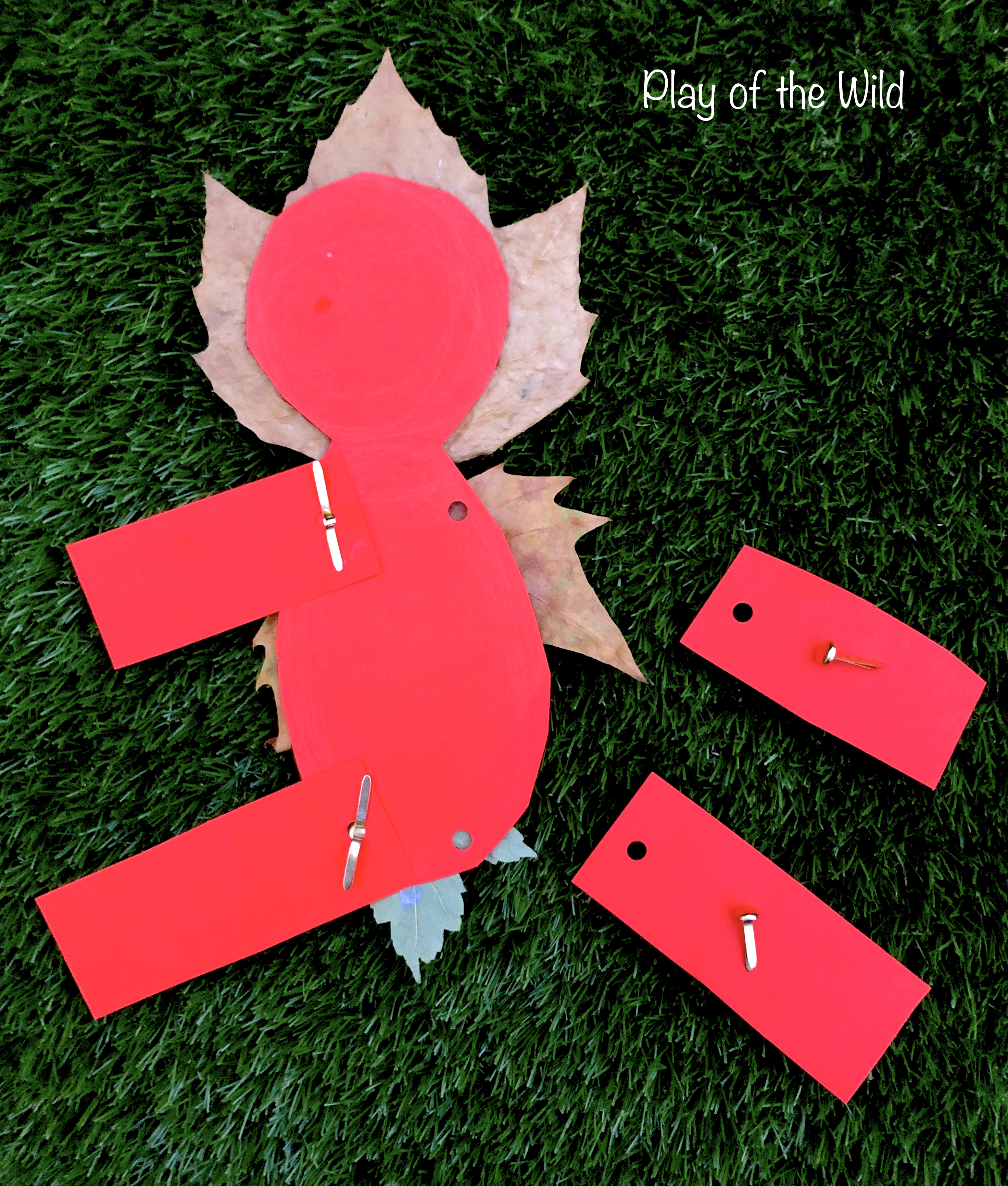 paper fasteners to make leaf person move. DT.