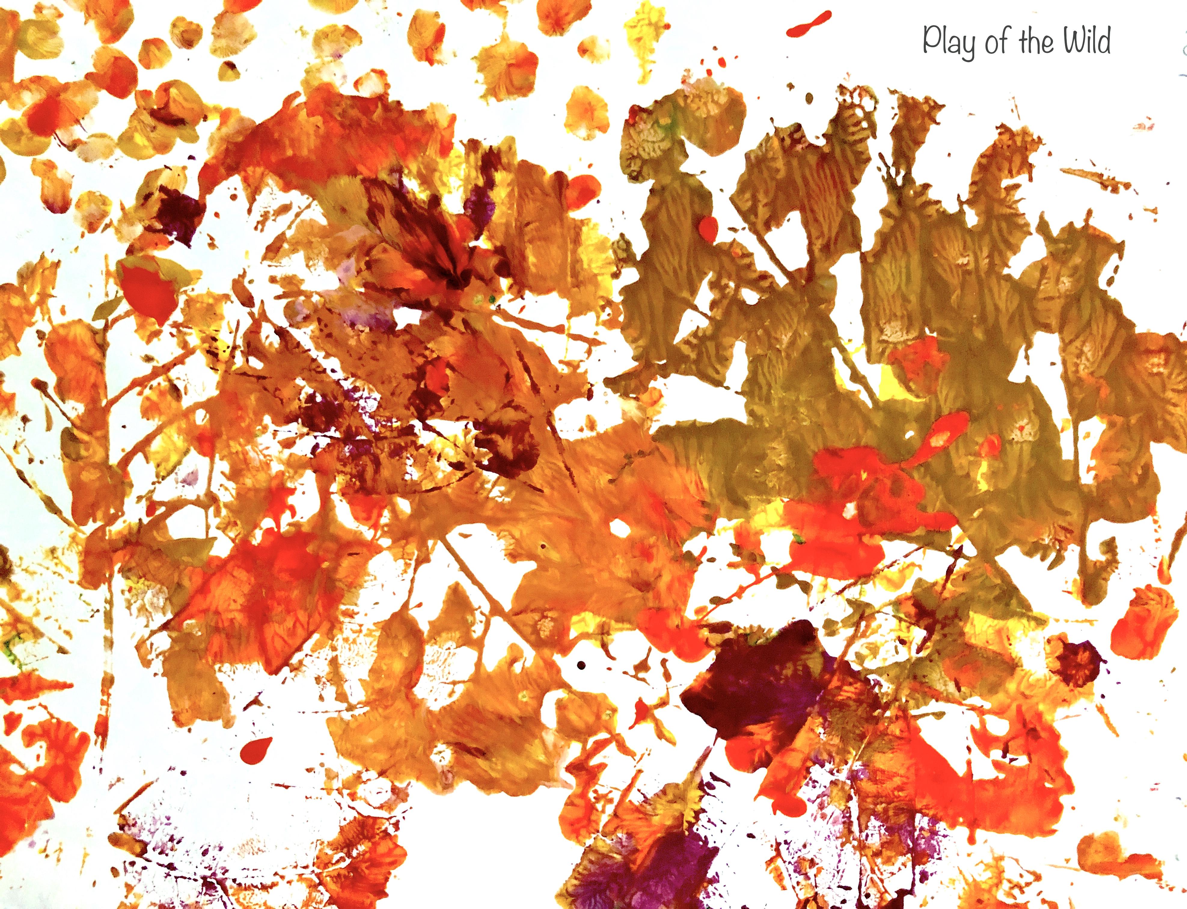 Children Autumn leaf prints.