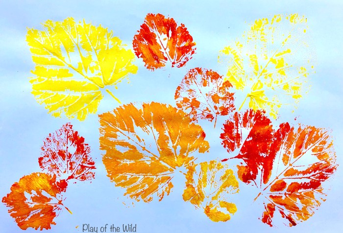 Leaf printing autumn leaves.