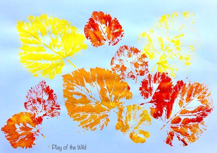 Leaf printing autumn leaves.