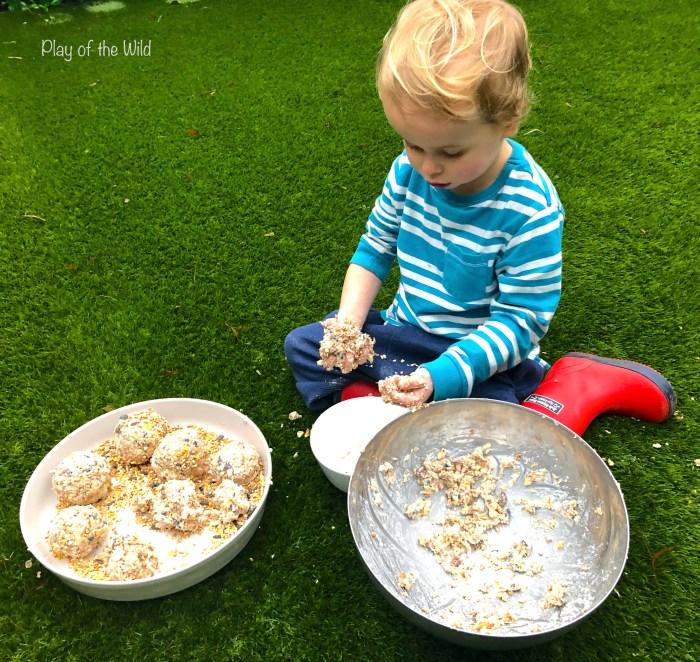How to make a Bird Feeder without Peanut Butter (Suet Cake).  Child made bird feeder.