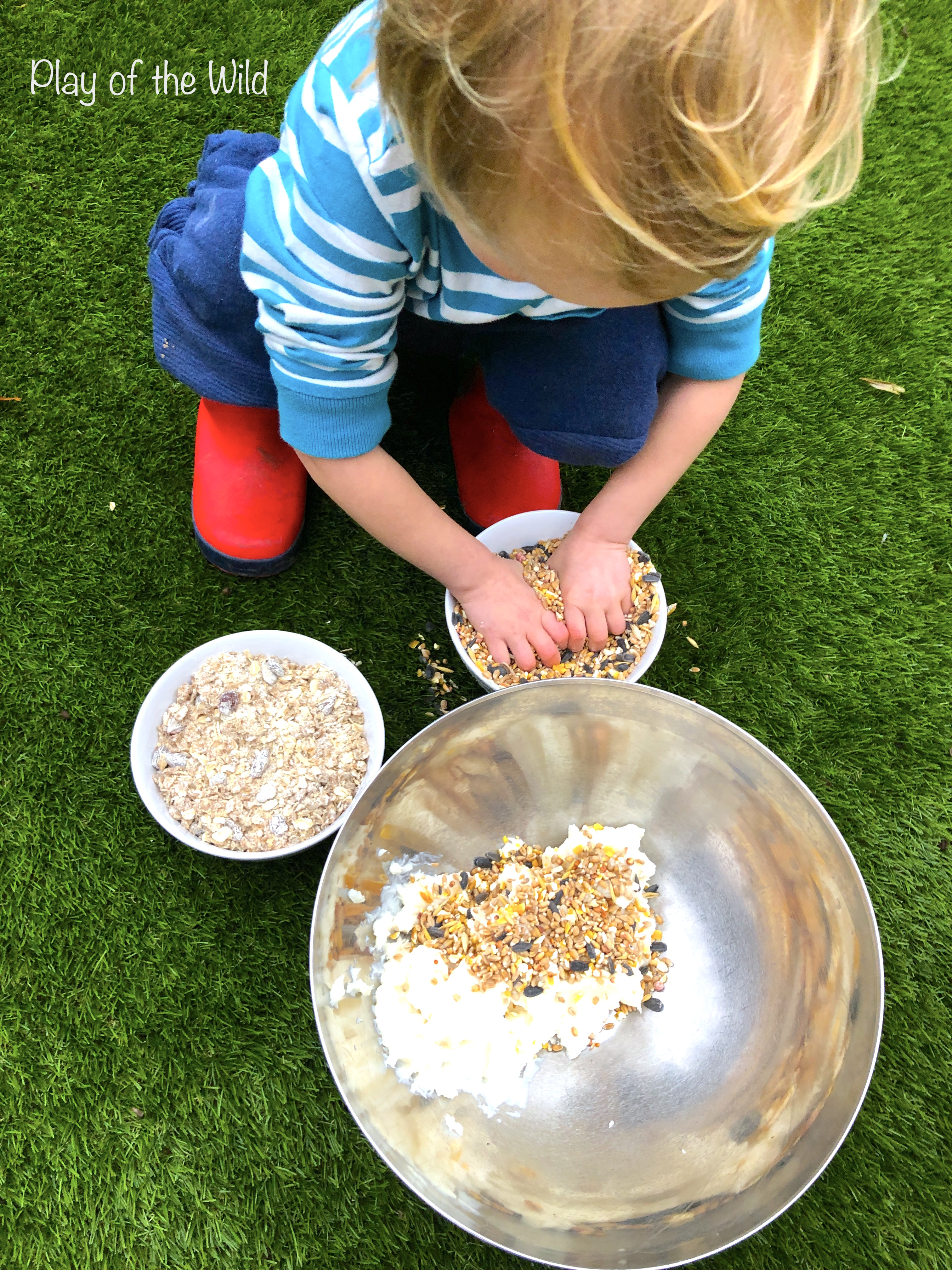How to make a Bird Feeder without Peanut Butter (Suet Cake). Mixing bi