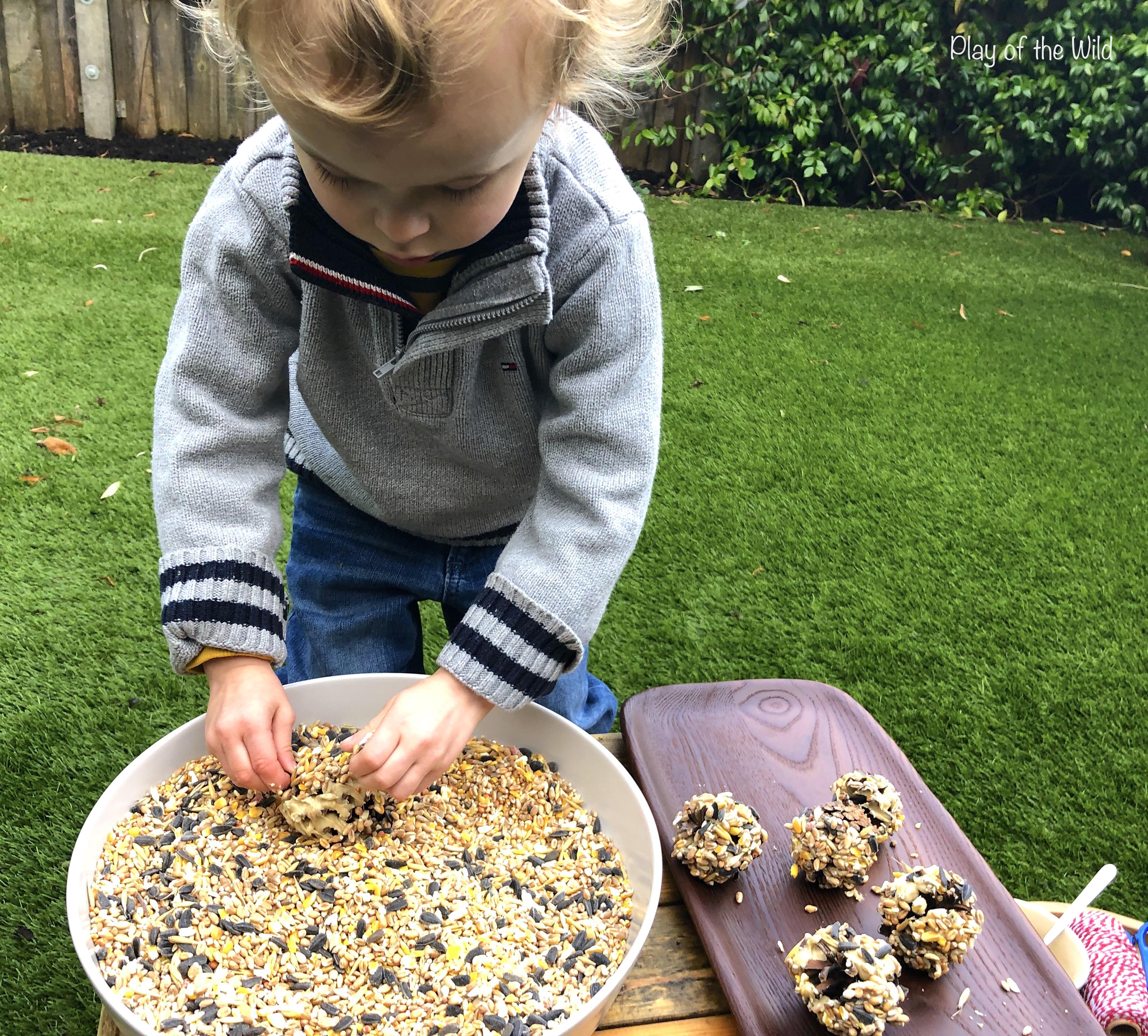 Pinecone Birdfeeders. Outdoor Learning in Preschool
