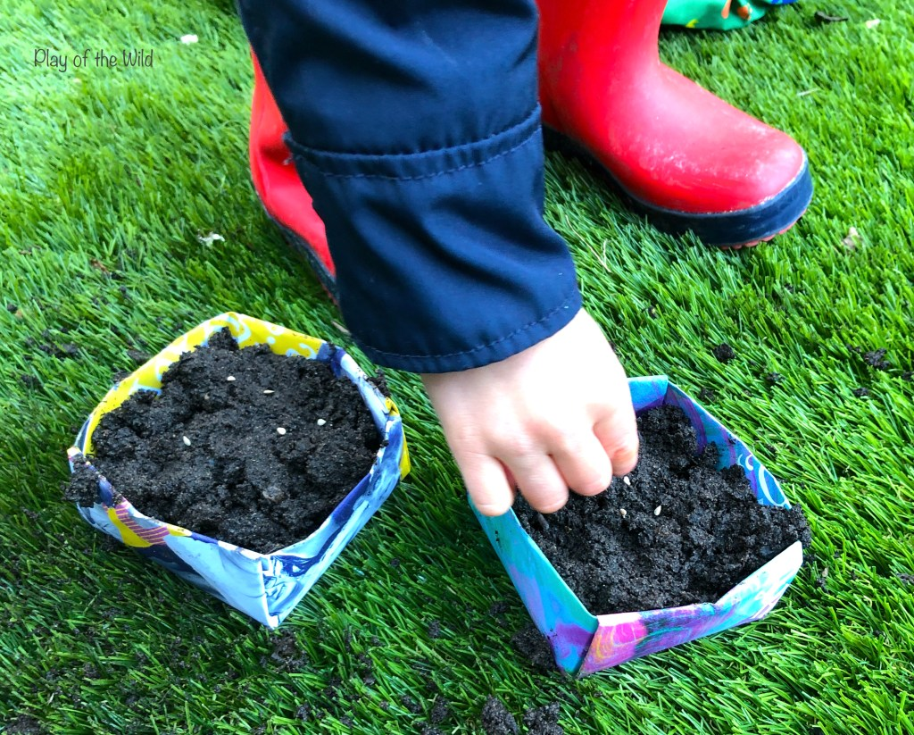 planting seeds with children. growing vegetables at home.