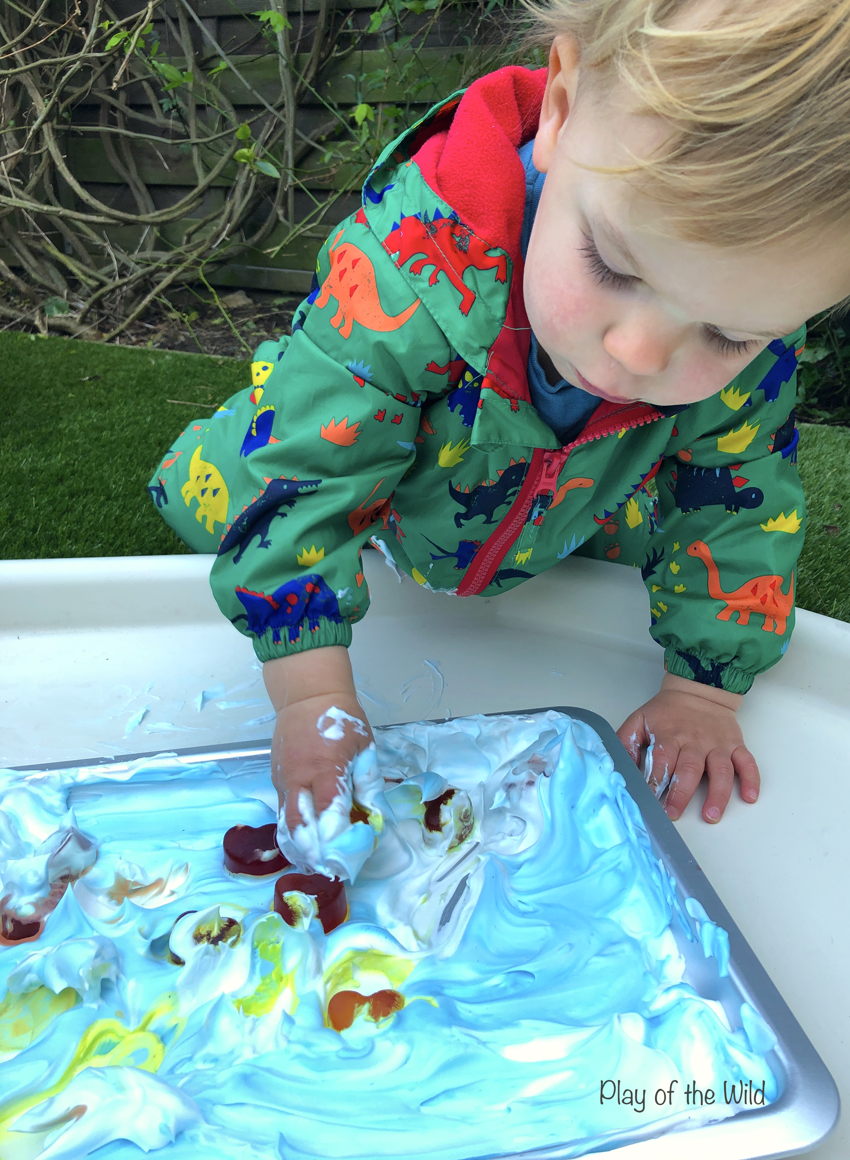 Shaving Foam Sensory Play Ideas.  ice cubes and foam.