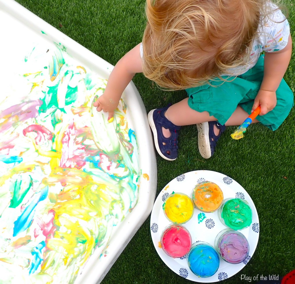 Corn Starch Paint – Homemade Edible Paint  finger painting