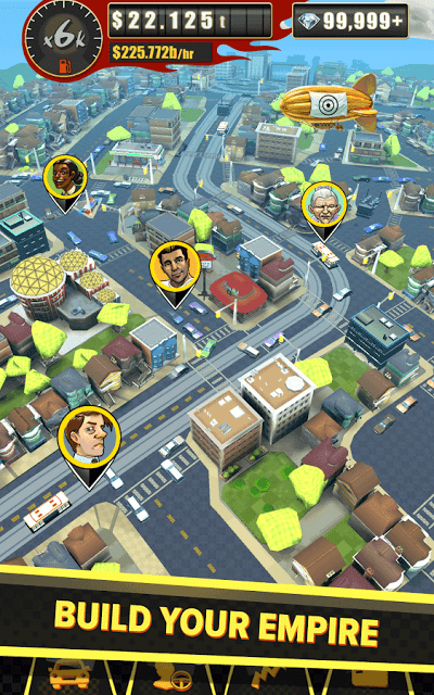 A bird's eye view of your cab fleet in Crazy Taxi Gazillionaire