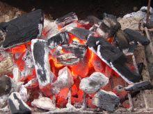 Glowing coals.