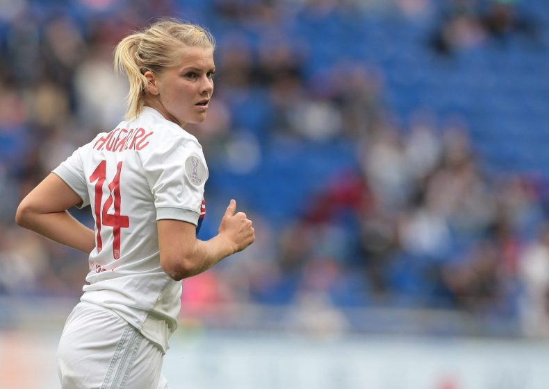 LYON, FRANCE - APRIL 29:  Ada Hegerberg of Olympique Lyonnais looks on during the UEFA Women's Champions League, Semi Final Second Leg match between Olympique Lyonnais and Manchester City at Groupama Stadium on April 29, 2018 in Lyon, France. (Photo by Emilio Andreoli/Getty Images)