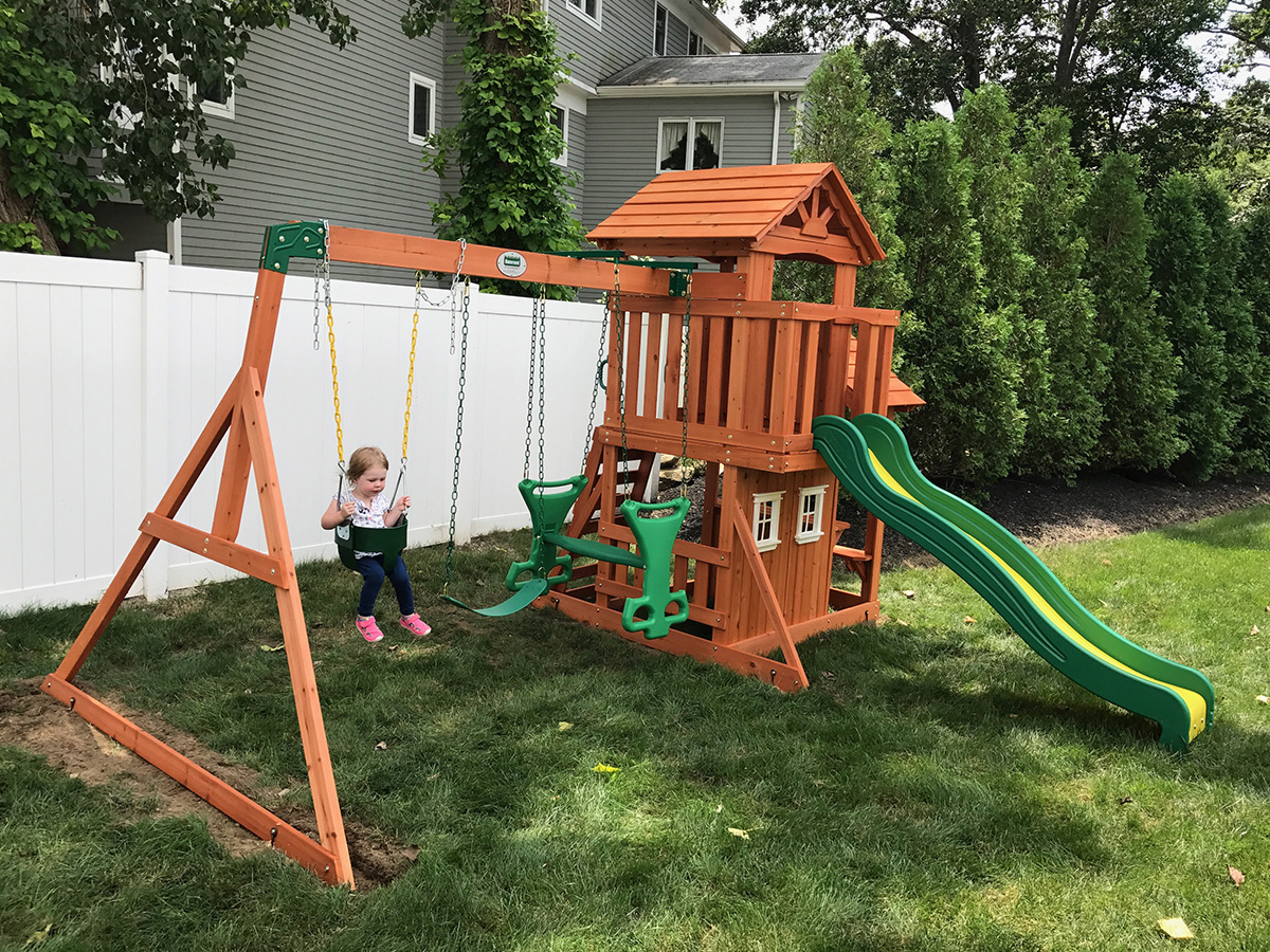 Backyard Discovery Tanglewood Swing Set Installed - New England Playset Assembly, Weymouth, MA – Playset Installation